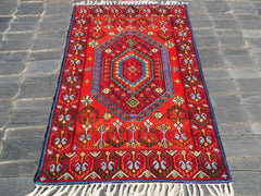 Kashmiri wool - 3x5 feet chainstitch rug | multicolor tribal geometric embroidery | runner rug for boho bedrooms and oriental wall decor