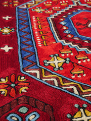 Kashmiri embroidery rug | handmade wool rug 3x5 multicolor | persian embroidery rug | runner rug or oriental wall decor