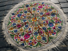 "Round wool rug - Mandala rug | Kashmiri ""Namda"" traditional hand felted wool rug 