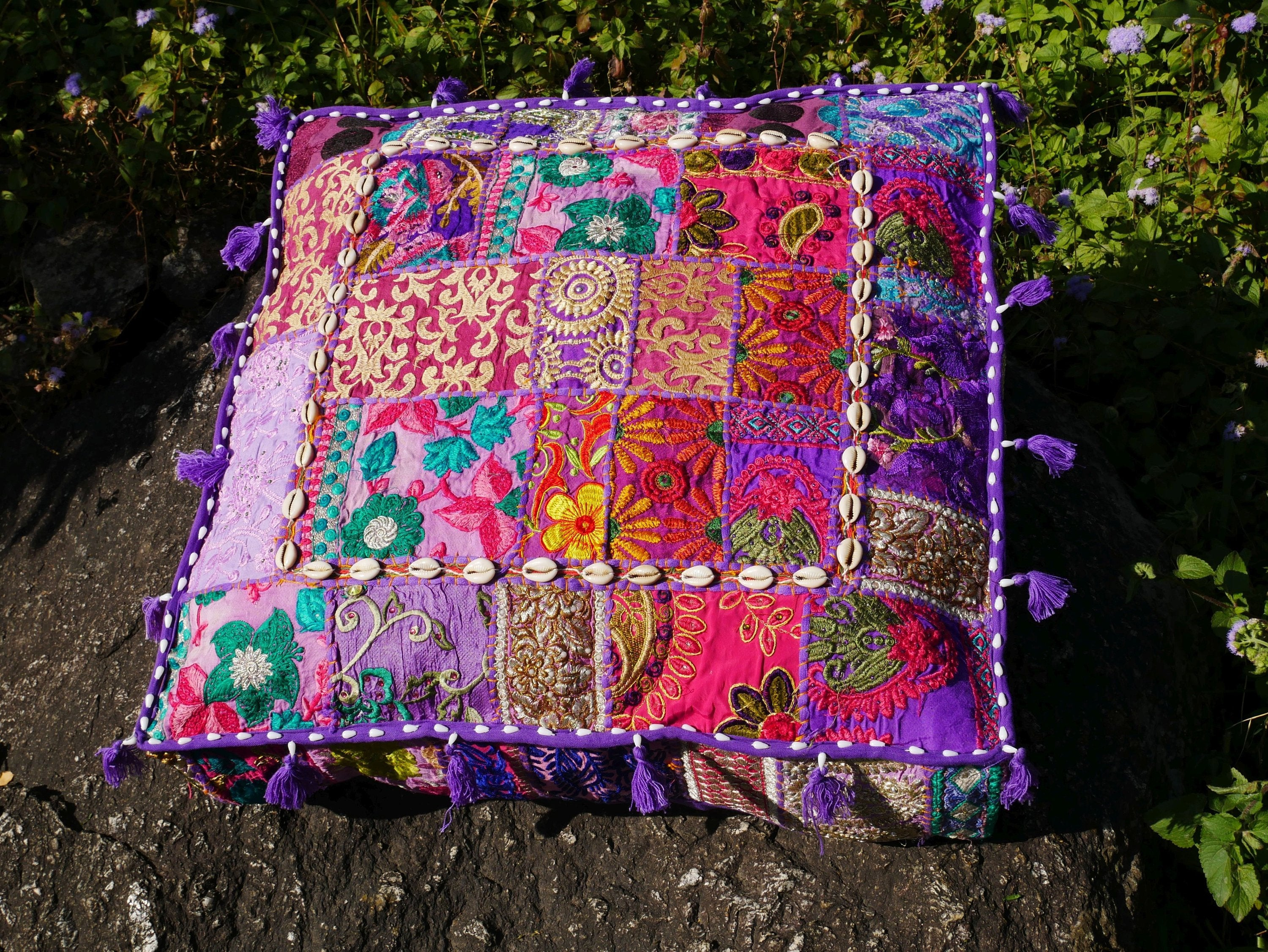 Large square floor pillow cover | Purple floor pouf cushion || Hippie India boho floor seating