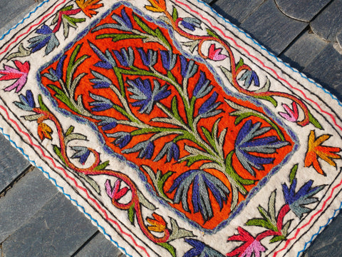 "Kashmiri ""Namda"" Meditation mat, boho accent rug 