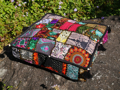 Square floor pillow | floor cushion cover | meditation cushion for Indian bohemian floor seating or as decorative throw pillow | NO INLET
