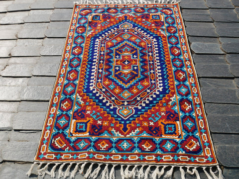 Kashmiri wool rug - boho area rug | 3x5 traditional handmade rug with geometric embroidery design| accent rug for bohemian decor