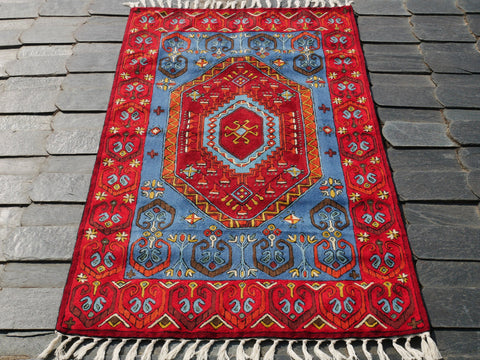 Kashmiri wool rug 3x5 multicolor | Kashmir tribal geometry embroidery | runner rug for boho bedrooms and oriental wall decor