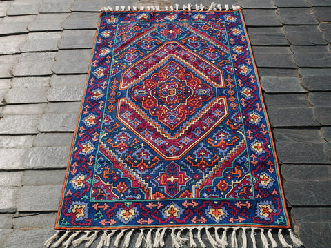 "Kashmiri wool rug ""Kashmir Jewel"" boho area rug 