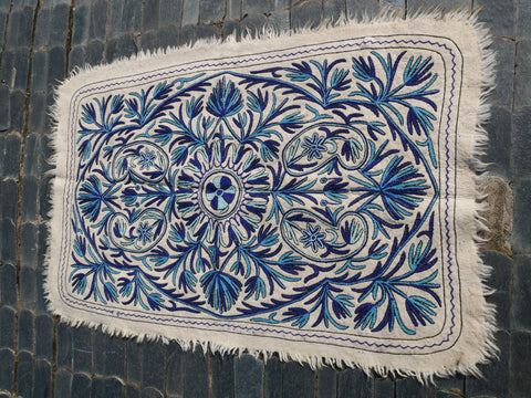 "Kashmiri ""Namda"" wool rug 6x4 blue and white hand felted and embroidered area rug"