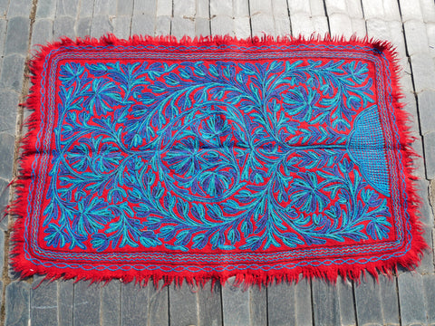 "Kashmiri ""Namda"" Wool rug ""Soul Tree"" Boho area rug 