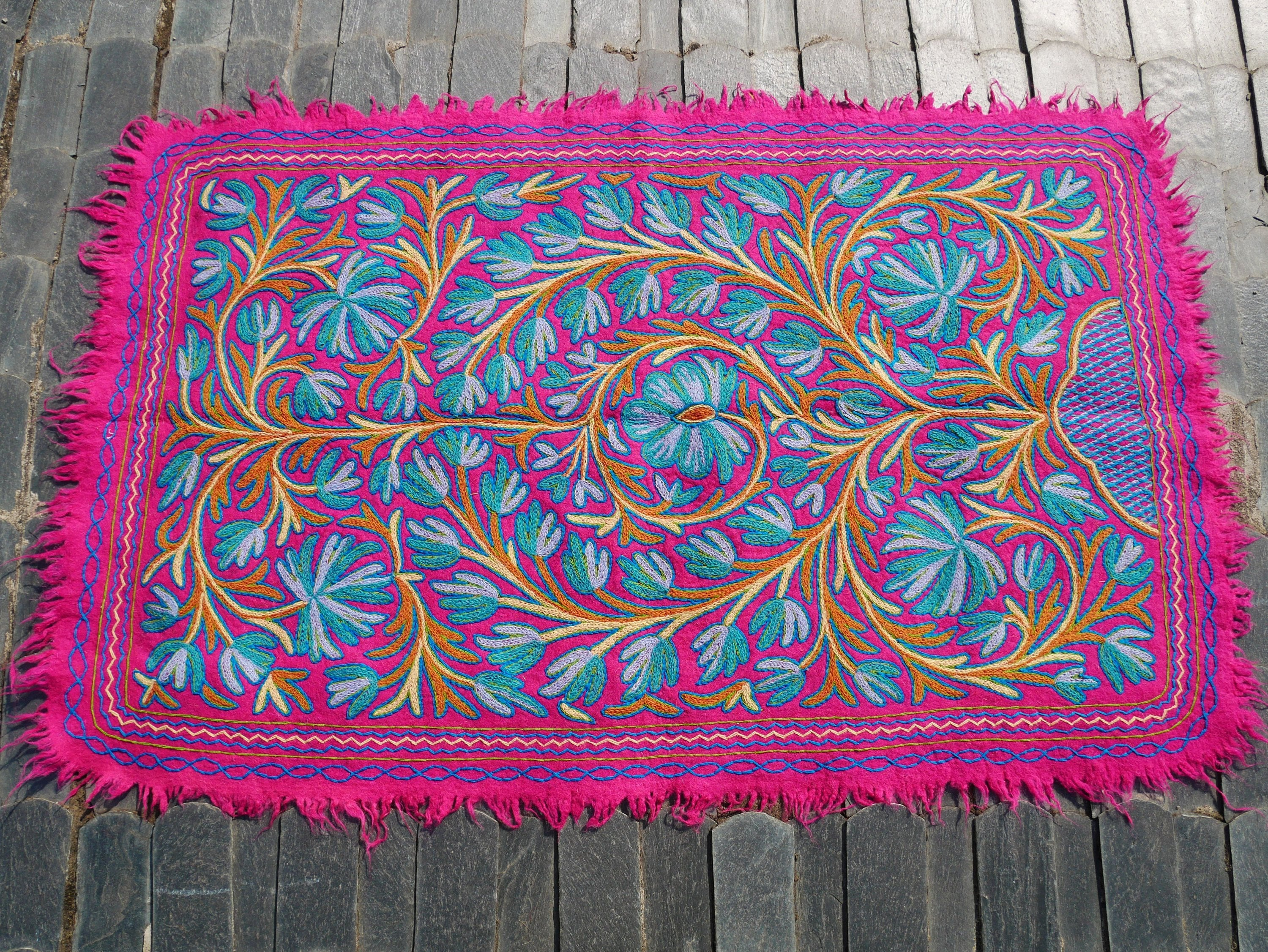 "Kashmiri ""Namda"" felted wool rug ""Himalayan Flower"" 