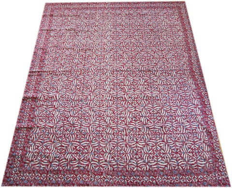 "Kantha throw - Indian white and red ""cutwork"" bedspread - beautiful handmade bohemian bed throw"