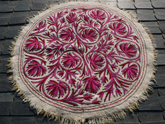 "Round rug Kashmiri ""Namda"" handmade, natural felted wool rug 
