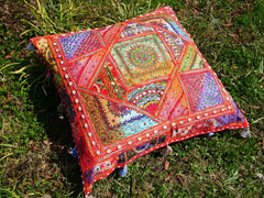 "Large floor cushion ""DESERT FLOWER"" Indian floor seating - colorful square floor pillow 