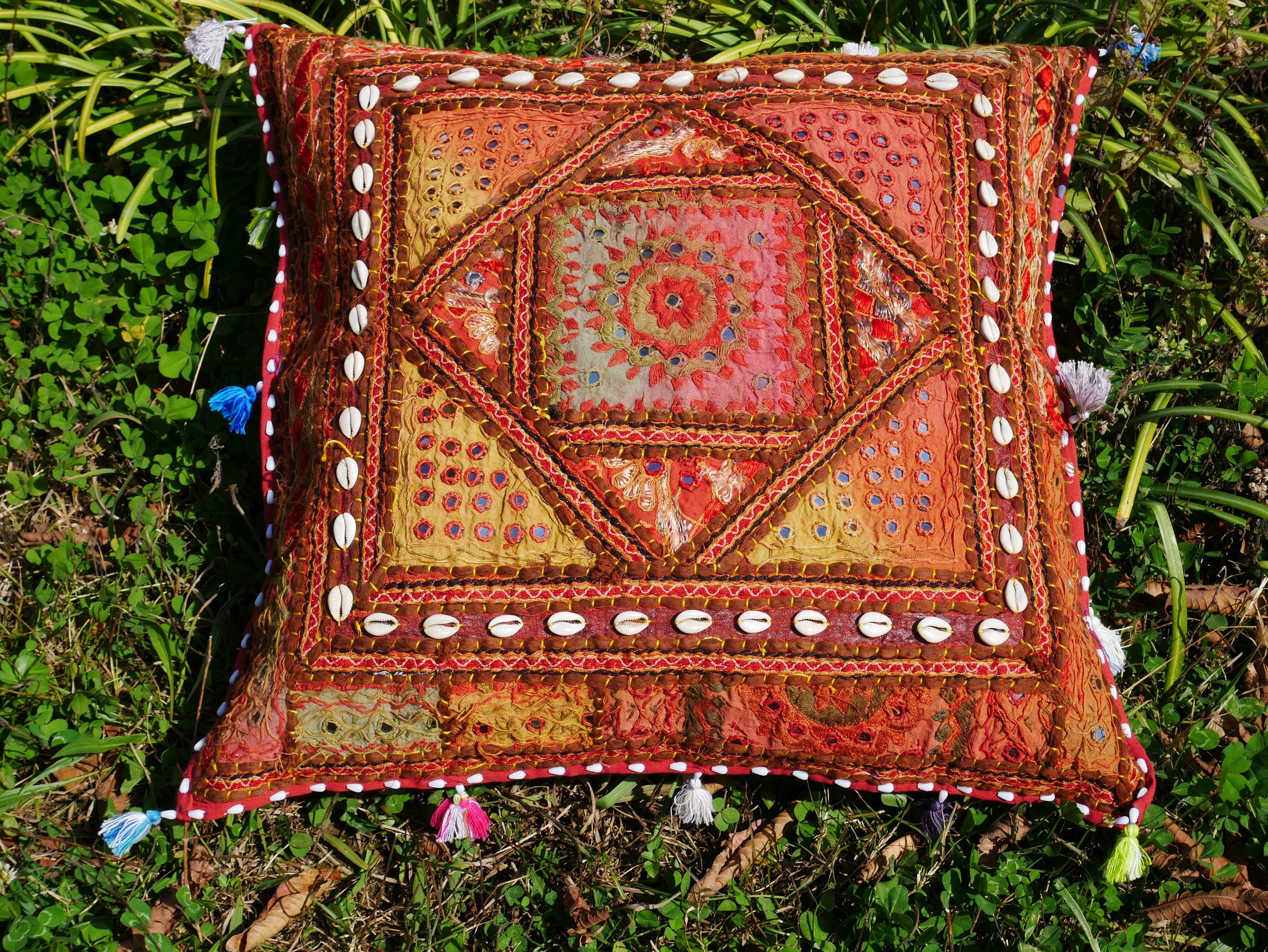 "Square floor pillow - meditation cushion | ""Bohemian Masala"" decorative pillow 