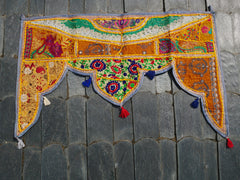 Vintage toran - boho curtain, door valance, bohemian wall decor, hippie decor, colorful indian wallhanging, patchwork door hanging,