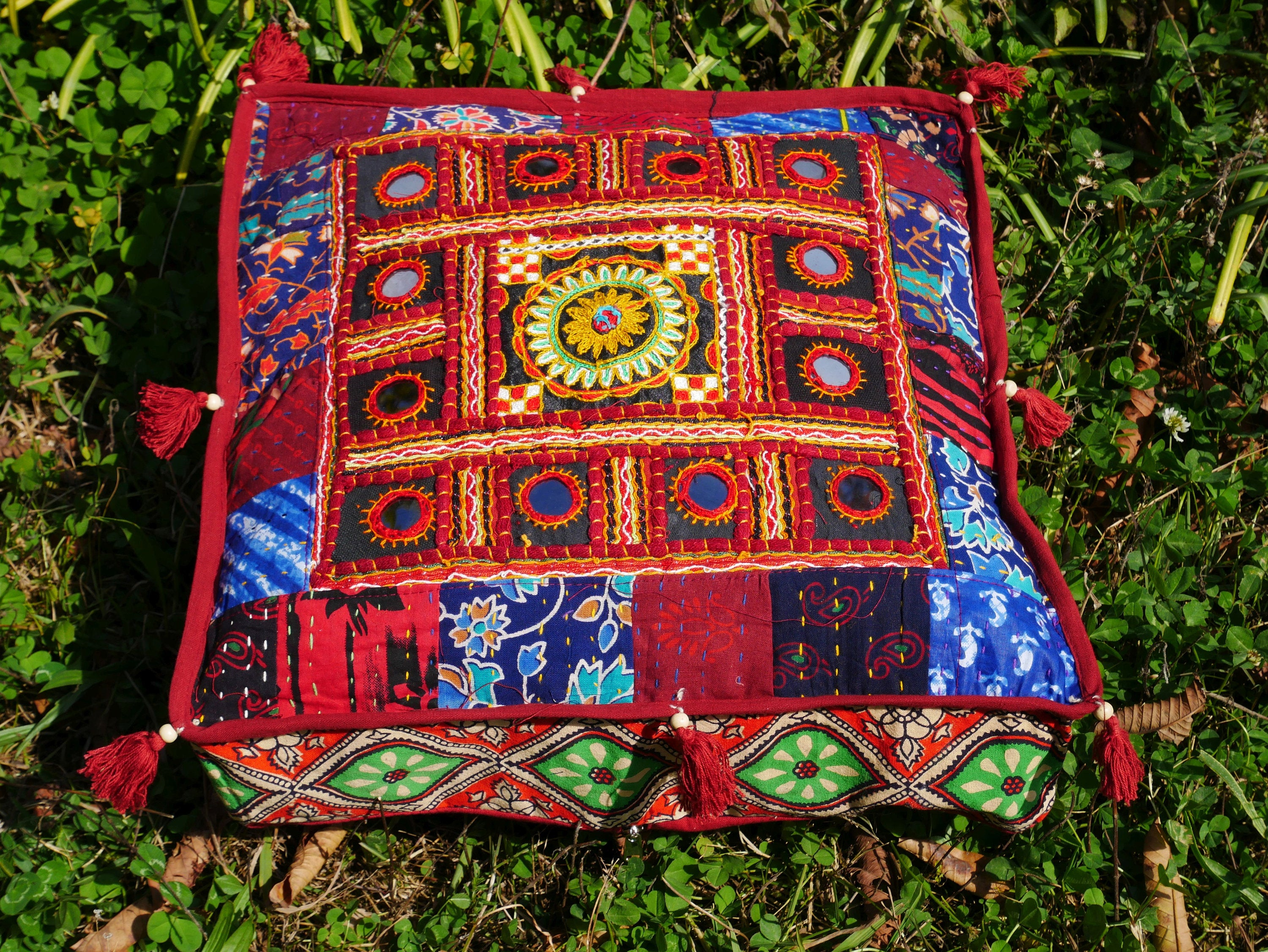 "Square floor pillow - meditation cushion | Indian floor seating | tribal embroidery ""Kutch"" mirrorwork 
