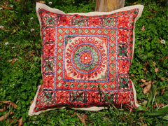 Ethnic throw pillow - Indian cushion cover | handmade, traditional embroidery 16x16 | boho pillow - colorful sofa pillow | bohemian hippie