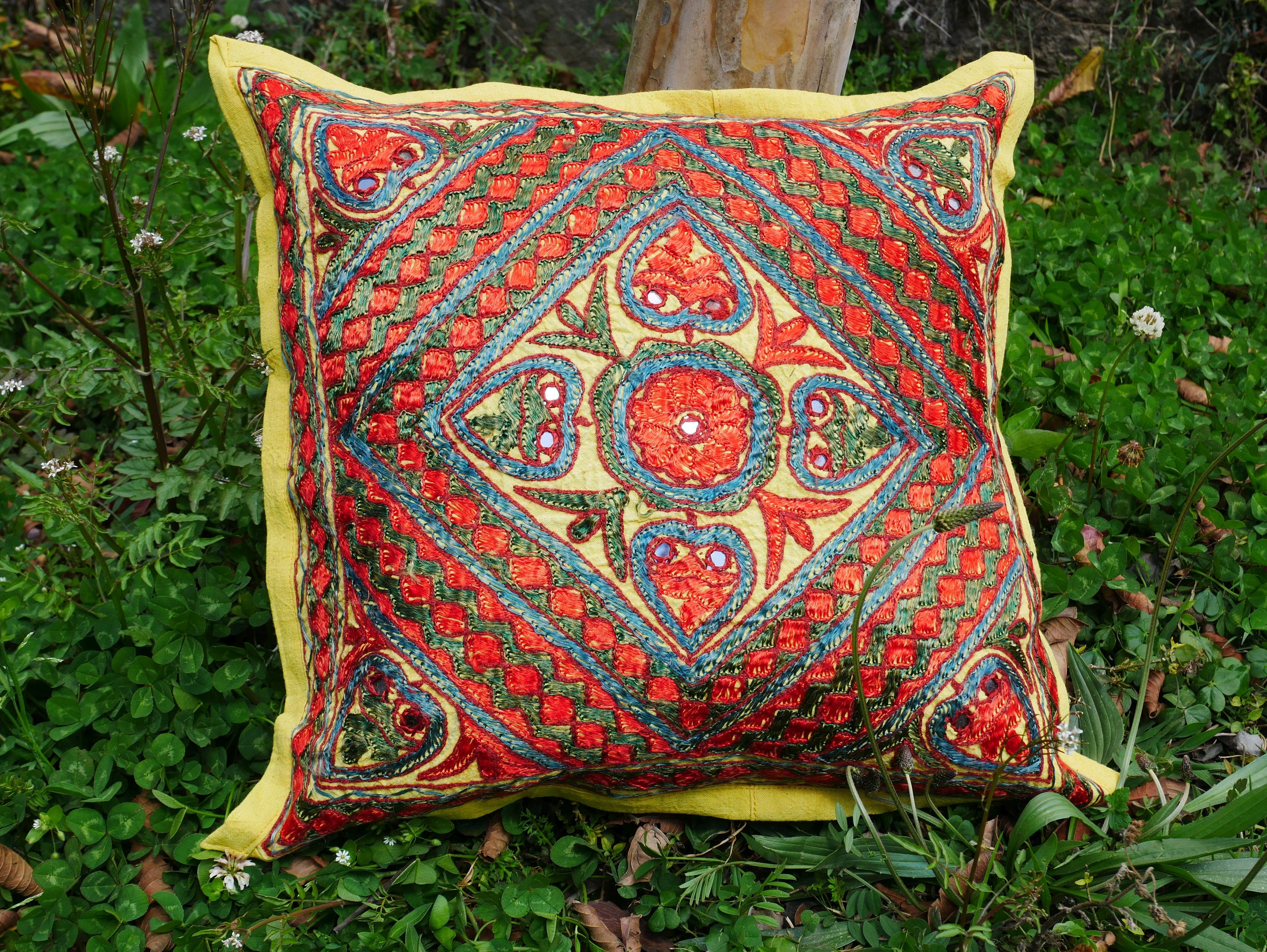 Bohemian pillow - Indian throw pillow cover | ethnic decorative cushion - boho pillow | tribal - handmade - embroidery cushion COVER ONLY