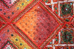 """Flower of the desert"" - hand embroidered, colorful patchwork quilt"