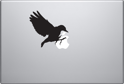 Crow Sitting Macbook Decal