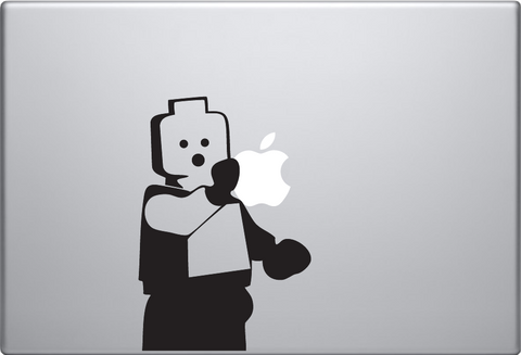Lego Man Holding Apple Macbook Decal