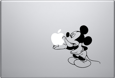 Mickey Mouse Holding Apple Macbook Decal
