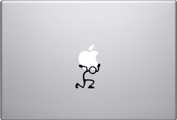 Stickman Holding Up Macbook Decal