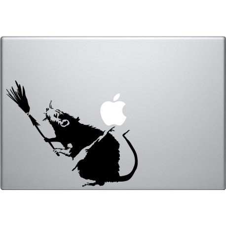 Banksy Broom Rat Laptop Decal