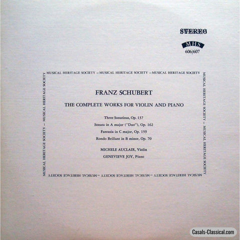 Auclair: Schubert Violin & Piano Works - Musical Heritage Society Hms 606/607 (2Lp Set) Lp