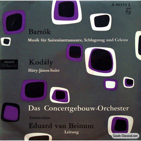 Beinum: Kodaly Hary Janos Suite + Bartok Music For Spc - Philips A 00353 L Lp