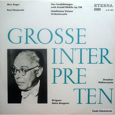 Bongartz: Reger 4 Tone Poems After Arnold Böcklin + Hindemith - Eterna 8 25 424 Lp
