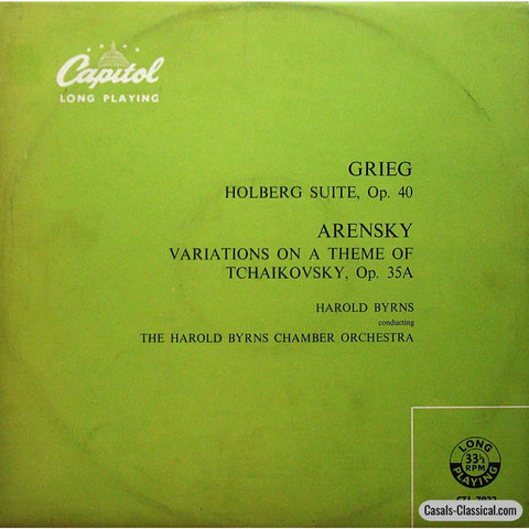 Byrns: Grieg Holberg Suite + Arensky Tchaikovsky Variations - Capitol Ctl 7022 Lp