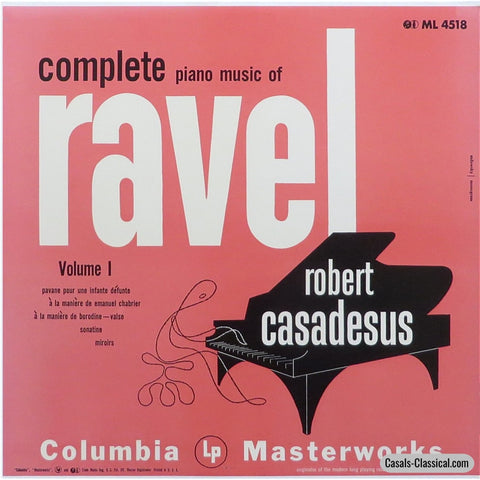 Casadesus: Ravel Piano Music Vol. 1 (Miroirs Sonatine Etc.) - Columbia Ml 4518 Lp