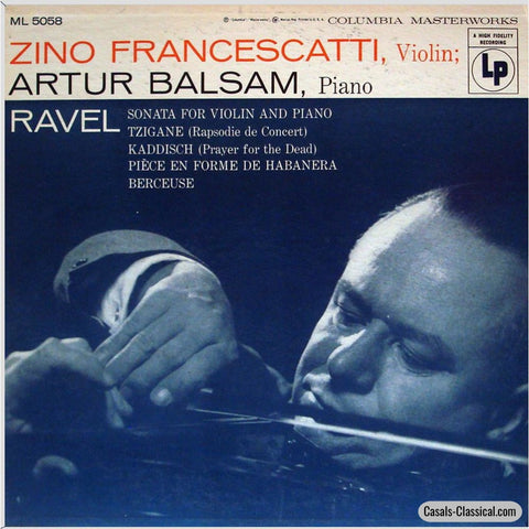Francescatti: Ravel Violin Sonata Tzigane Etc. - Columbia Masterworks Ml 5058 Lp