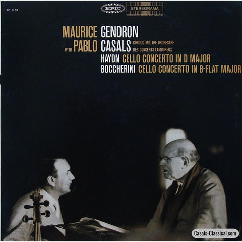 Gendron/casals: Haydn No. 2 + Boccherini G. 482 Cello Concertos - Epic Bc 1152 Lp