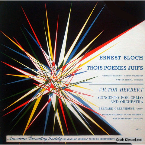 Greenhouse: Herbert Cello Concerto + Bloch - American Recording Society Ars-24 Lp