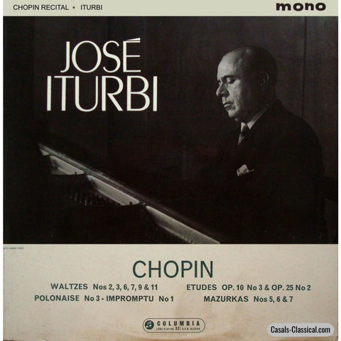 Jose Iturbi: Chopin Recital (Waltzes Etudes Etc.) - Columbia 33Cx 1701 Lp