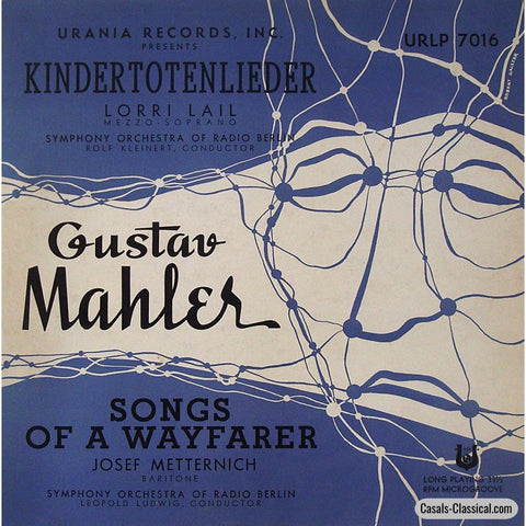 Metternich & Lail: Mahler Song Cycles - Urania Urlp 7016 Lp