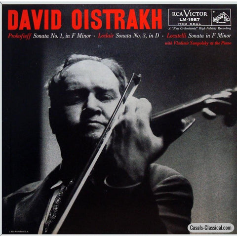 Oistrakh: Prokofiev Violin Sonata No. 1 + Leclair & Locatelli - Rca Lm-1987 Lp