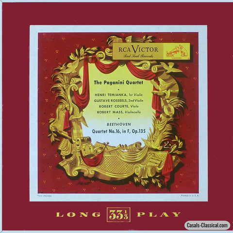 Paganini Quartet: Beethoven String Quartet No. 16 In F Op. 135 - Rca Lm-24 Lp