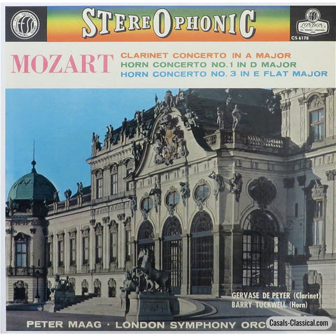De Peyer: Mozart Clarinet Concerto + Tuckwell Horn Concerti - London Cs 6178 Lp