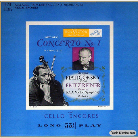 Piatigorsky: Saint-Saëns Cello Concerto No. 1 Op. 33 + Encores - Rca Lm-1187 Lp