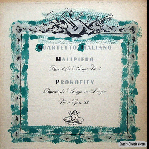 Quartetto Italiano: Malipiero No. 4 + Prokofiev 2 String Quartets - Angel 35296 Lp