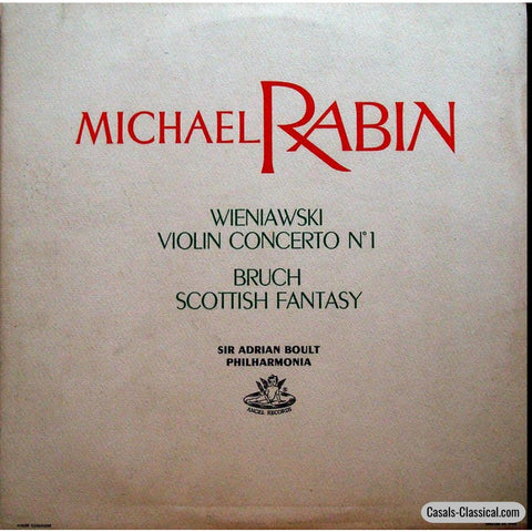 Rabin: Bruch Scottish Fantasy + Wieniawski Violin Concerto No. 1 - Angel 35484 Lp