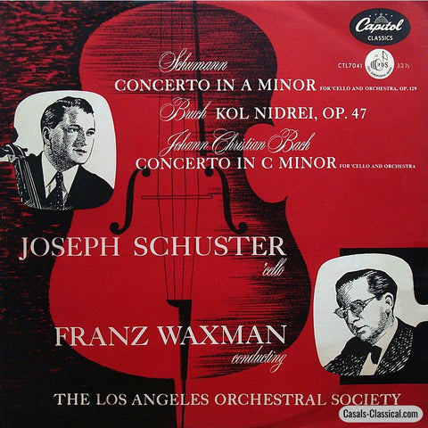 Schuster: Schumann Cello Concerto + J.c. Bach & Bruch - Capitol Ctl 7041 Lp