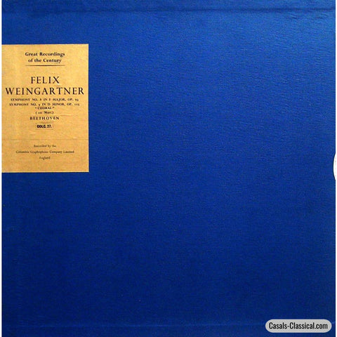 Weingartner: Beethoven Symphonies Nos. 8 & 9 - Columbia Colc 27 (2Lp Box Set) Lp