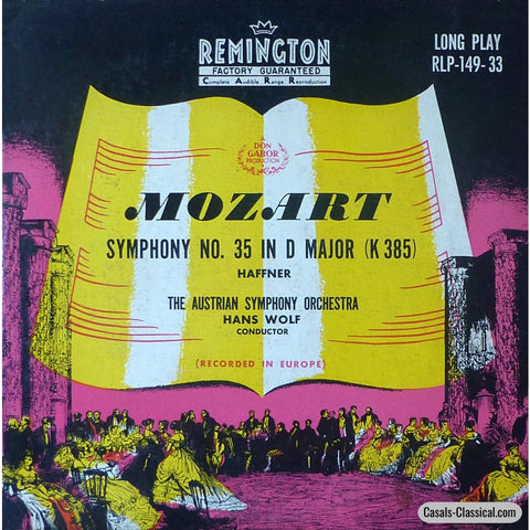 Wolf/austrian So: Mozart Symphony No. 35 Haffner - Remington Rlp-149-33 Lp