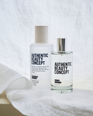 Authentic Beauty Concept - Eau De Toilette 50ml next to linen - Eds Hair Bramhall