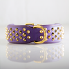 Dog Collar - Ruthless Purple Leather & Brass