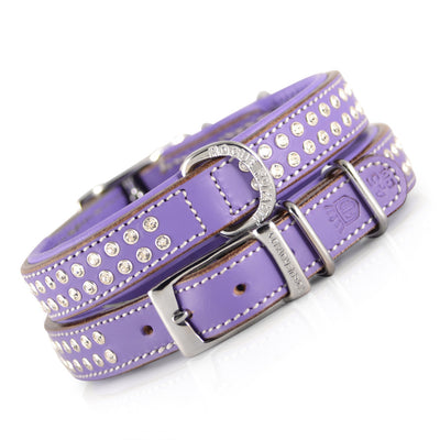 Strong leather Swarovski designer dog collar