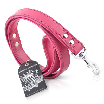 Leather Dog leash -  Pink