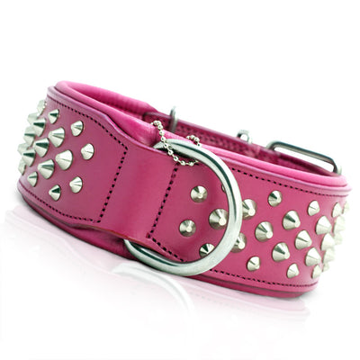 Studded Pink Leather Dog Collar